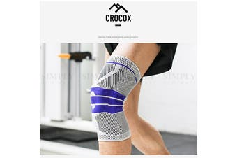 Crocox Knee Braces Support Strap Compression Sleeve Silicone Pad M L XL Adult