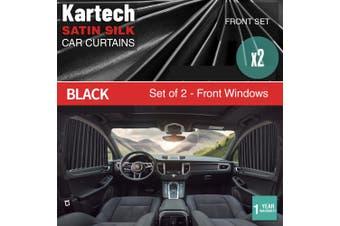 2x Kartech Car Window Curtains Retractable Sun Shades UV Protection Black Front