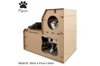Pipers Cat Cardboard House Tree Tower Condo Scratcher Pet Post Pad Mat Furniture