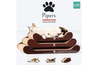 Pipers Cat Scratcher Cardboard Bed Lounge Sofa Pet House Post Board Small Large - Bed Size 1 - 50cm x 24.5cm x 13.5cm