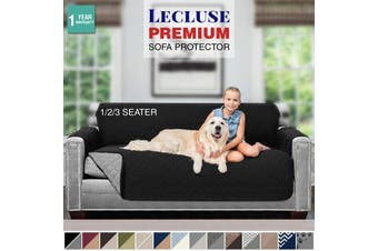 Lecluse Sofa Protector Quilted Couch Covers 1/2/3 Seater Arm Slipcover Stretch - 1 Seater - White