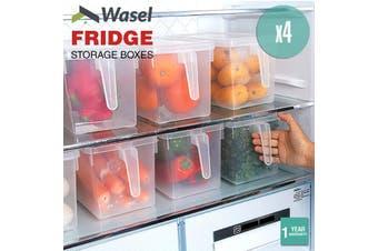 Wasel Refrigerator Storage Box Food Container Kitchen Fridge Organiser Freezer - Pack of 4