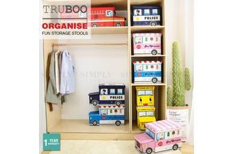 Truboo Kids Storage Toy Organiser Box Children Book Stool Chest Basket Cube Seat - School Bus - Rear