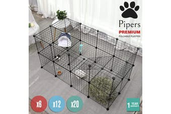 Pipers Pet Fence Cage Dog Playpen Enclosure Panels Puppy Rabbit Foldable Cat Exe - 35cm x 35cm / 6 Panels