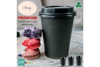 Pardy Disposable Coffee Cups 8oz 12oz 16oz Takeaway Paper Single Wall Black Bulk - 200pcs (100 Cups + 100 Lids)