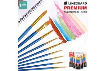 Lineguard Paint Brush Set Acrylic Art Oil Painting Brushes Nylon Bulk Fine Round - Set of 60