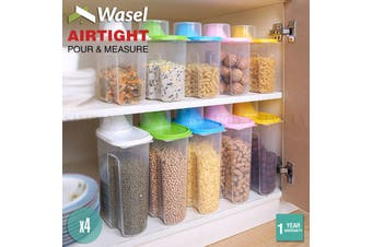 Wasel Plastic Dried Food Storage Containers Lids Box Jars Airtight Cereal Rice - Large (2.5L) - Random Colours / Pack of 4
