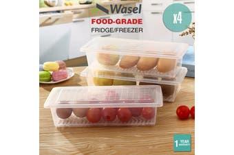 Wasel Refrigerator Storage Box Food Container Fridge Freezer Kitchen Organiser - Pack of 4