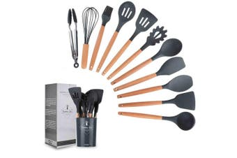 Set of 12 Silicone Utensils Set Wooden Cooking Kitchen Baking Cookware BPA Free