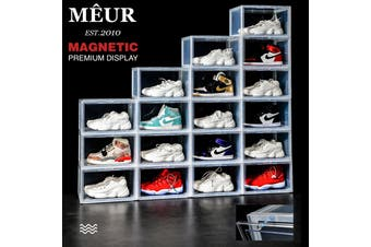 Meur Sneaker Display Cases Magnetic Shoe Box Storage Stackable Clear Rack Cubes - 1 Box