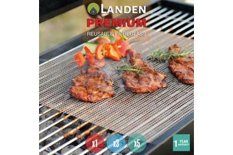 Landen BBQ Mesh Grill Mat Non-Stick Liner Cooking Barbecue Sheet Wire Baking Pad - Black - 5 Pack
