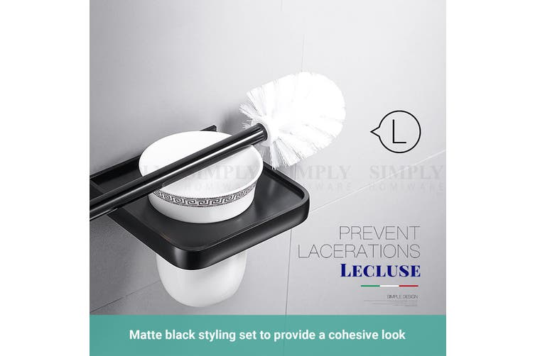 Lecluse Bathroom Accessories Black Set Towel Rack Shelf Storage Hand Rail Caddy - Corner Shelf - 1 Tier Black