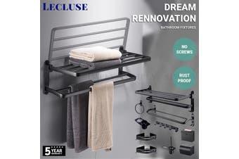 Lecluse Bathroom Accessories Black Set Towel Rack Shelf Storage Hand Rail Caddy - Hand Towel Ring - Black