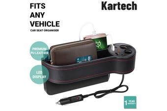 Kartech Car Seat Organiser Gap Filler PU Leather Side Storage Box USB Charger