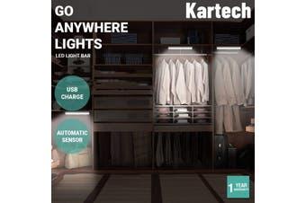 Kartech LED Light Bar USB Rechargeable Motion Sensor Night Lamp Kitchen Wardrobe - 210mm - Warm White (Rounded)