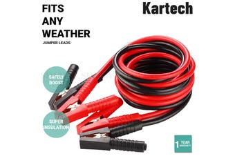 Kartech Car Jumper Leads Booster Cables Surge Protected 4M Long Heavy Duty Truck - Pure Copper Clamps
