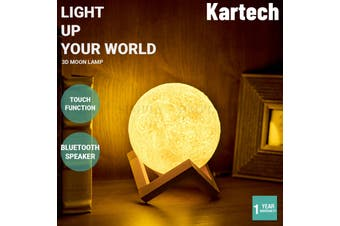 Kartech 3D Moon Lamp USB Music Night Light Bluetooth Speaker Touch Sensor Gifts - 3D Lamp (+Bluetooth Speaker) - 13cm