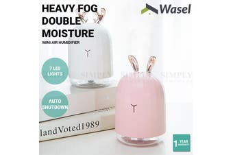 Wasel Mini Desk Air Humidifier Aromatherapy USB LED Lights Deer Rabbit Shaped