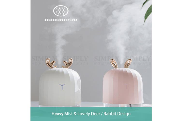 Wasel Mini Desk Air Humidifier Aromatherapy USB LED Lights Deer Rabbit Shaped