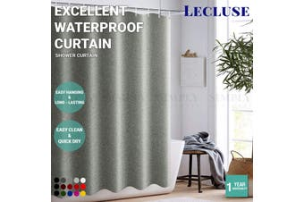 Lecluse Shower Curtain Bathroom Waterproof Fabric Hooks Easy Hanging Solid Color - Standard - Grey / 180cm x 180cm