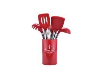 Lecluse Kitchen Utensil Set Silicone Non-Stick Cooking Stainless Steel 8Pcs