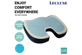 Lecluse Gel Seat Cushion Memory Foam Back Support Cooling Seat Non-Slip Soft - Velour Cover - Grey