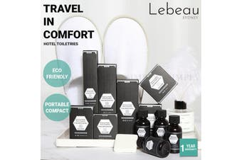 Lebeau Deluxe Hotel Toiletries Shampoo Shower Cap Disposable Travel Size 9 Pc - Vinity Kit - Black / 10 Pack