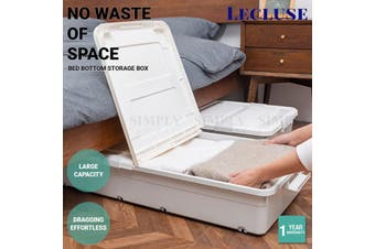 Lecluse Bed Bottom Storage Box Under-Bed Case Container Organizer Pully Wheel PP - High