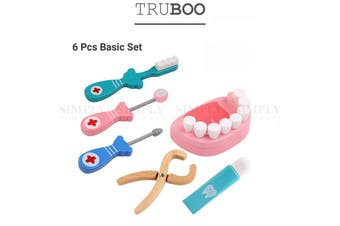 Truboo Kids Dentist Toy Set Children Doctor Pretend Role Play Medicine Box Wood