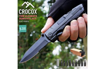 Crocox Mini EDC Folding Knife Utility Set Pocket Survival Tools Hunting Tactical - Black Stealth - Hammer Knife