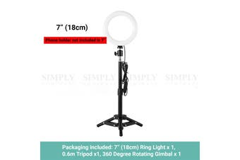 "Kartech LED Ring Light Stand Lamp Diffuser Selfie Makeup Live Tripod 7""/10"""