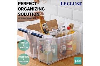 1/3x Lecluse Kitchen Storage Box Organizer Bin Wheel Handle Clear Container 18L - 3 Pack