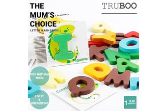 Truboo Letter Flash Cards Kids Early Learning Matching Puzzle Game Animal Wooden
