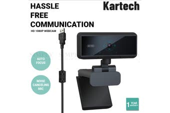 Kartech HD 1080P Webcam Computer PC Laptop Web Camera Auto Focus Built-in Mic