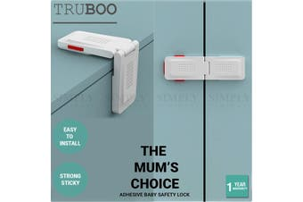 4x Truboo Adhesive Baby Safety Lock Child Kids Security Drawer Fridge Protection - Right Angle / 4 Pack
