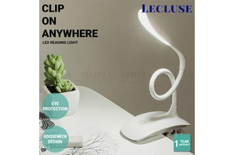 Lecluse LED Reading Light Clip On Desk Bed Lamp Flexible USB Rechargeable 3 Mode - Clip - On