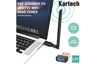 Kartech USB WiFi Adapter 1200Mbps 3.0 Wireless PC Laptop Network Dual Band - 100m