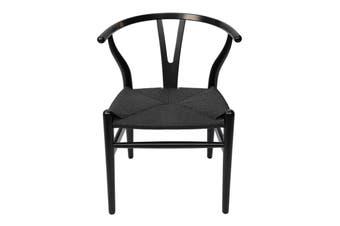 Replica Hans Wegner Wishbone Chair | Black Frame & Black Rattan Seat