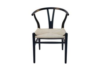 Replica Hans Wegner Wishbone Chair | Black Frame & Natural Rattan Seat