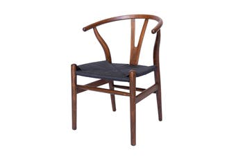 Replica Hans Wegner Wishbone Chair | Antique Walnut Frame & Black Rattan Seat  (42cm Seat Height)