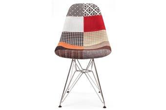 Replica Eames DSR Eiffel Chair   Multicoloured Patches Seat   Chrome Legs