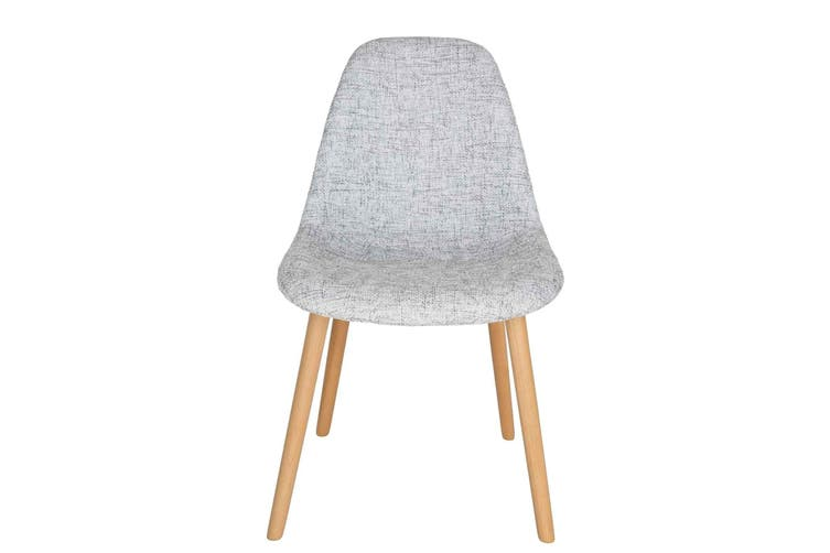 Replica Eames DSW Hal Inspired Chair | Textured Light Grey Fabric Seat | Natural Beech Legs