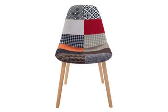 Replica Eames DSW Hal Inspired Chair   Multicoloured Patches Fabric Seat   Natural Beech Legs