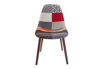 Replica Eames DSW Hal Inspired Chair   Multicoloured Patches Fabric Seat   Walnut Legs