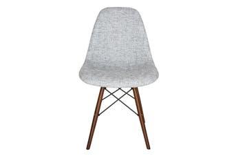 Replica Eames DSW Eiffel Chair   Textured Light Grey Seat   Walnut Legs