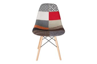 Replica Eames DSW Eiffel Chair   Multicoloured Patches Seat   Natural Wood Legs