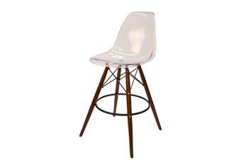 Replica Eames DSW Bar / Kitchen Stool | Clear Transparent | Walnut Legs