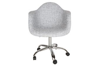 Replica Eames DAW / DAR Desk Chair | Textured Light Grey Fabric Seat