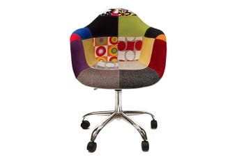 Replica Eames DAW / DAR Desk Chair | Multicoloured Patches V1 Fabric Seat