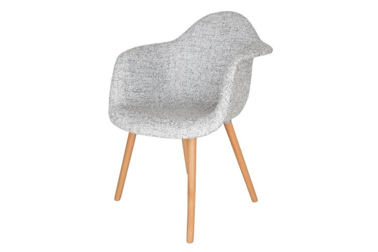 Replica Eames DAW Hal Inspired Chair | Textured Light Grey Fabric Seat | Natural Beech Legs